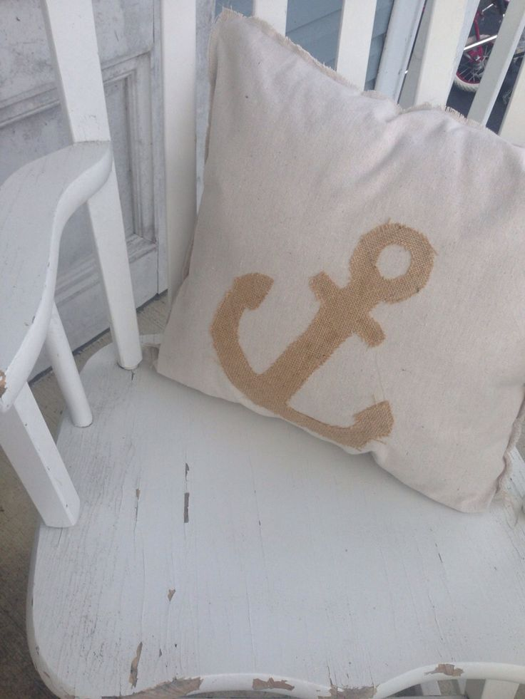 Handmade Accent Pillows Burlap Anchor Pillow $25 each.  Comment to purchase