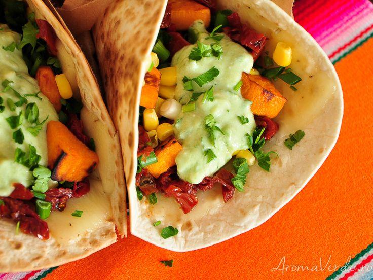 Tacos cu cartofi dulci și brânză