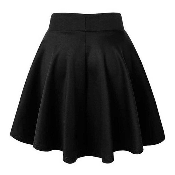 ACEVOG Women's Stretch Waist Flared Skater Skirt Dress Mini Skirt 15... ($10) ❤ liked on Polyvore featuring skirts and mini skirts
