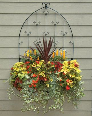 Wall trellis and planter box...would love this on my fenceGardens Ideas, Windows Boxes, Wall Trellis, Planters Boxes, Side Plants, Front Porches, Flower Boxes, Wall Planters, Window Boxes