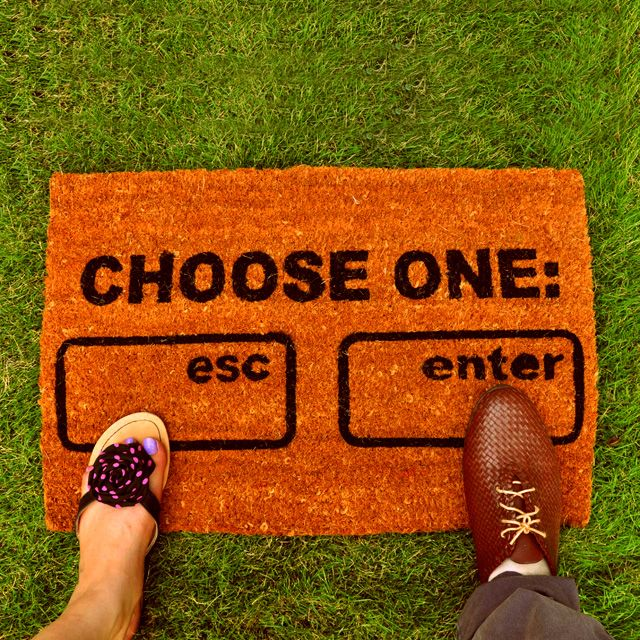 This geeky mat could be a great house party entrance accessory..Chose One Esc or Ent. Buy it now on www.oomphkart.com