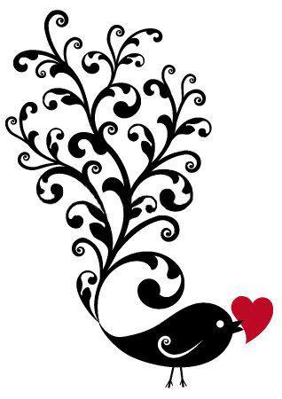 Silhouettes oiseau coeur