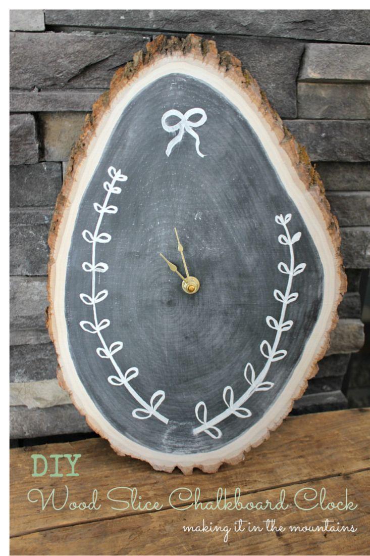 DIY Wood Slice Chalkboard Clock making