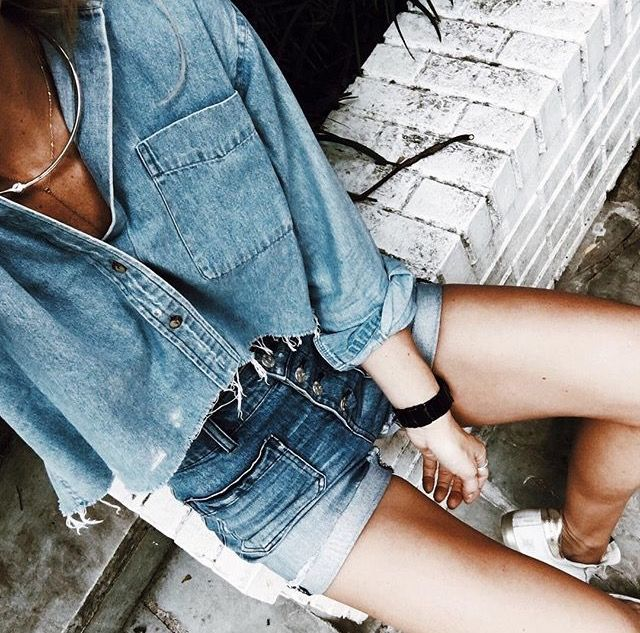 Street style, casual outfit, all denim outfit, spring chic, summer chic, denim shirt, denim shorts
