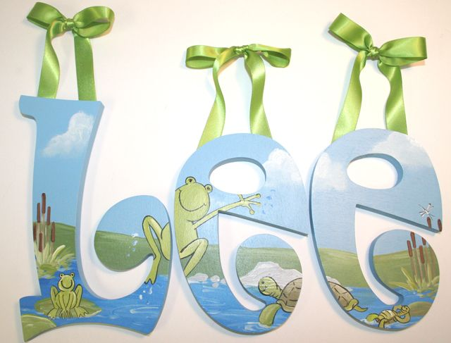 Pond Friends Wall Letters-frog wall letters, turtle nursery letters,pond theme room decor