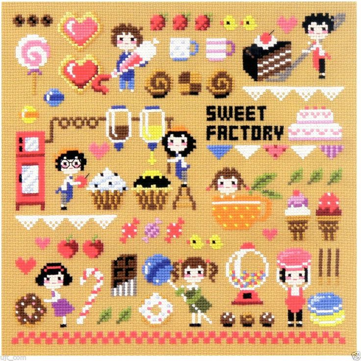 """Sweet factory"" Counted cross stitch chart.(pattern leaflet)"