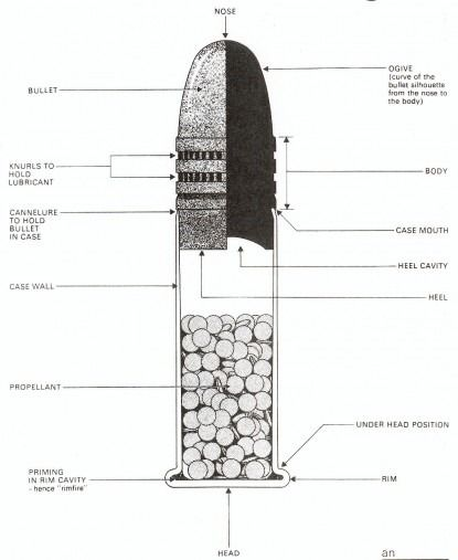 Diagram of a .22 cartridge
