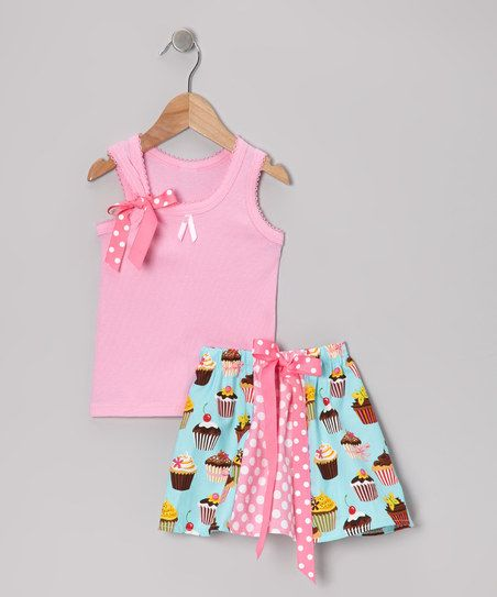 Inspiration  Pink & Aqua Sweet Tooth Tank & Skirt - Girls