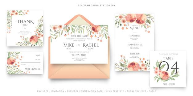 Download Wedding Stationery Collection In Peach And Green Colors