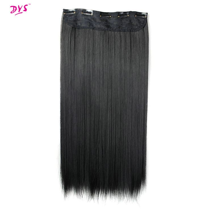 Deyngs 24inch 5 Clips in Hair Extensions 60cm Long Straight False Hairpiece Heat Resistant Synthetic Hair Extension 1pce/pack