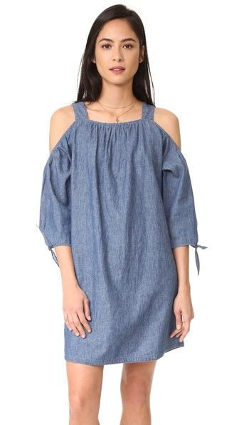Madewell Chambray Cold Shoulder Dress