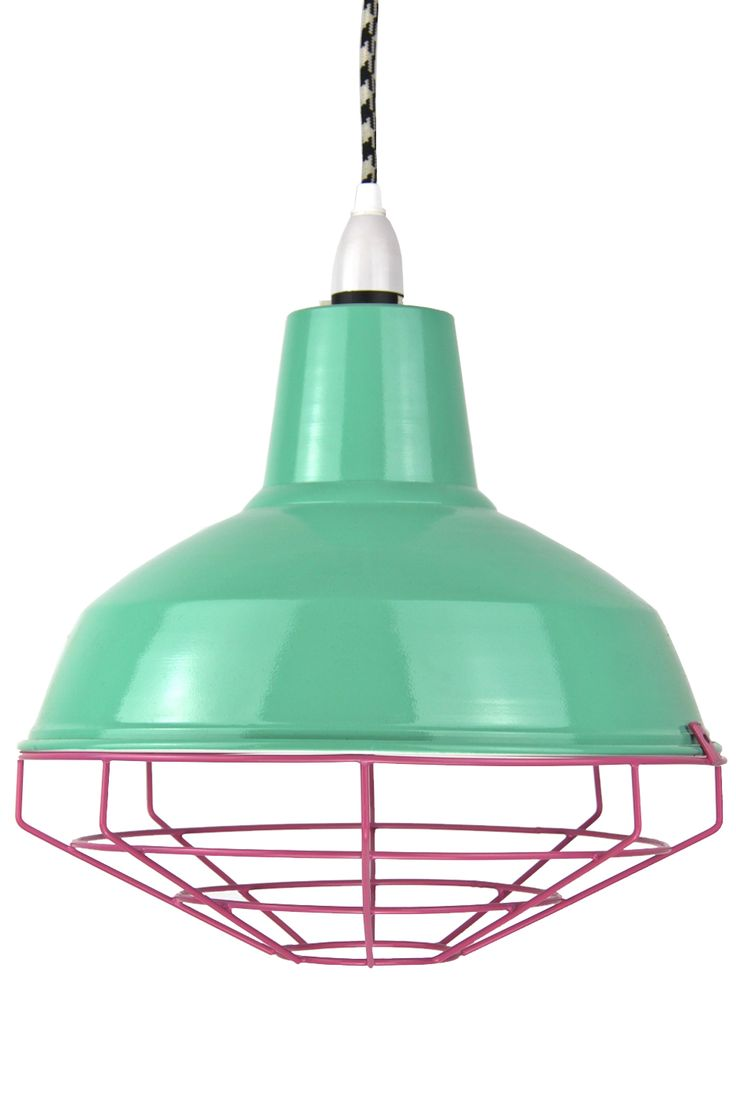 Peppermint and Pink Cage Shade with B/W Houndstooth cord. www.empiricalstyle.com