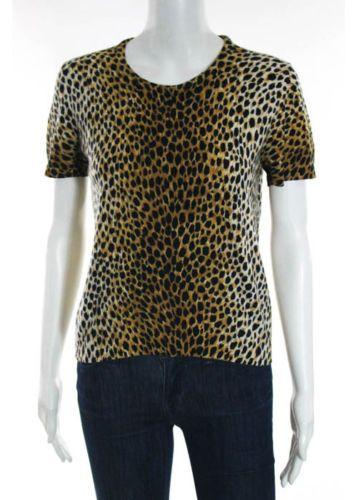 DOLCE-GABBANA-Multi-Colored-Cashmere-Animal-Print-Short-Sleeve-Top-Sz-IT-44