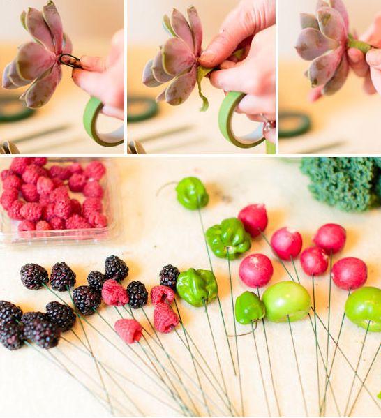 Букет из овощей и ягод своими руками-3
