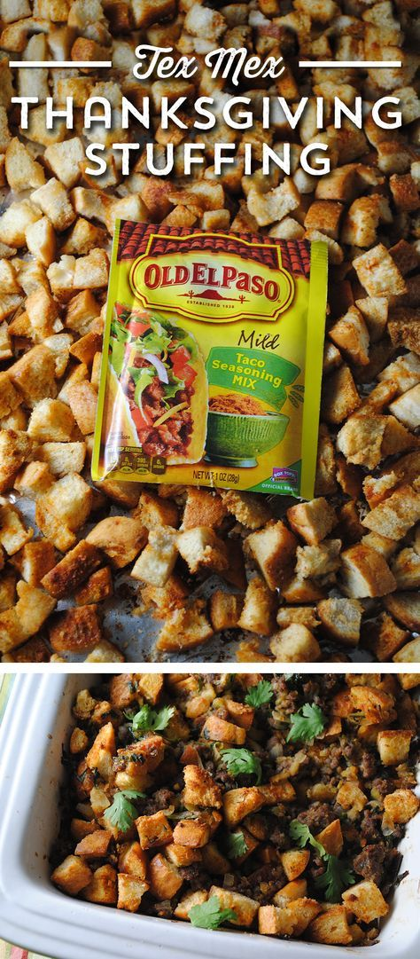 This Tex Mex Stuffing from @sweetlifebake is the taste of Texas with a bold splash of Mexican flavors! Taco Seasoned bread crumbs, green chiles, sausage and cilantro pack bold flavors that your guests are sure to love!