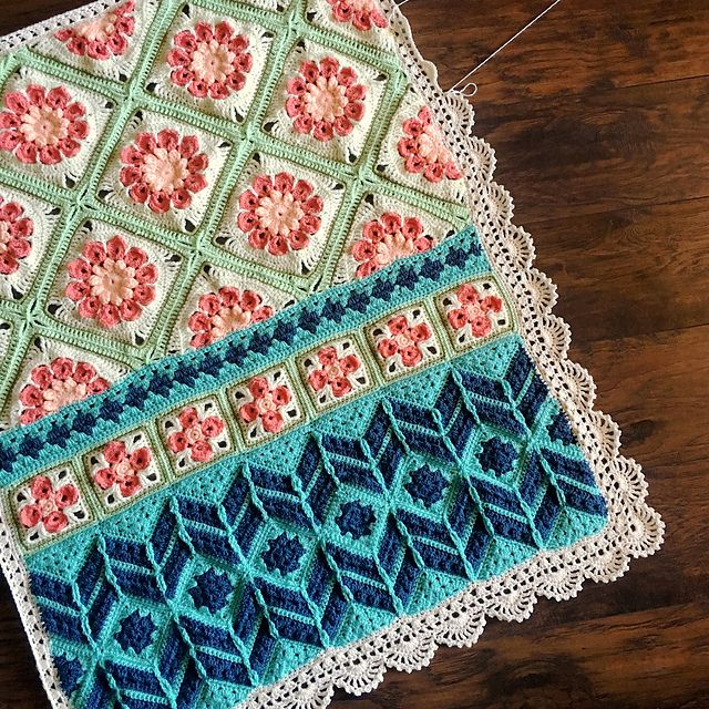 Desert Bloom is perfect for a quick baby blanket as it has so many stitches you'll never get bored!