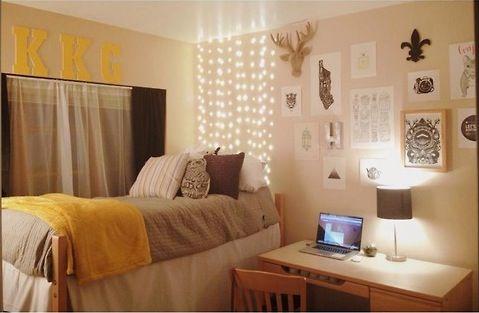 Yellow and grey dorm <3 http://studentrate.com/DormRoom-Discounts