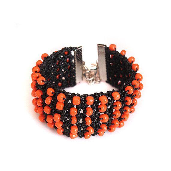 Handgemaakte Oranje kralen armband bruiloften van selenayy op Etsy