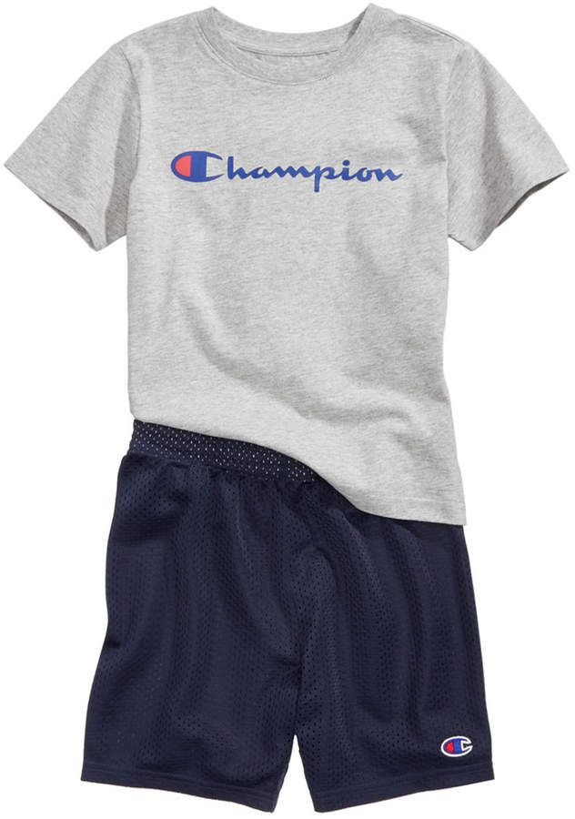 400dcc9bdcd0 Champion Heritage 2-Pc. Logo-Print T-Shirt & Shorts Set, Little Boys ...