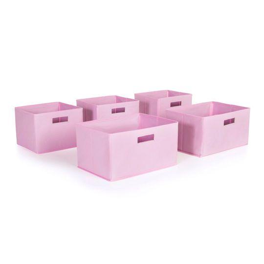 Guidecraft Pink Storage Bins, Set of 5