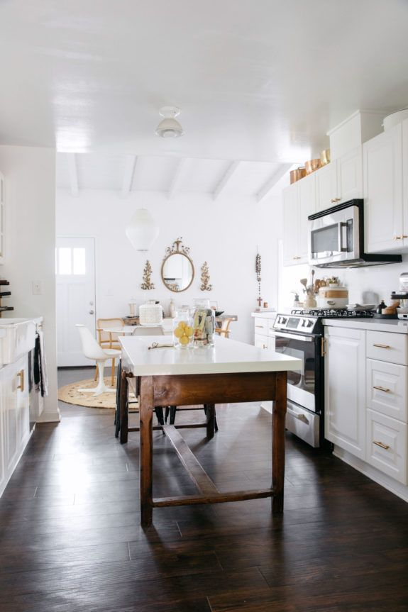 my kitchen makeover reveal featuring Armstrong Flooring's hickory point traditional luxury flooring in copper penny. #ad