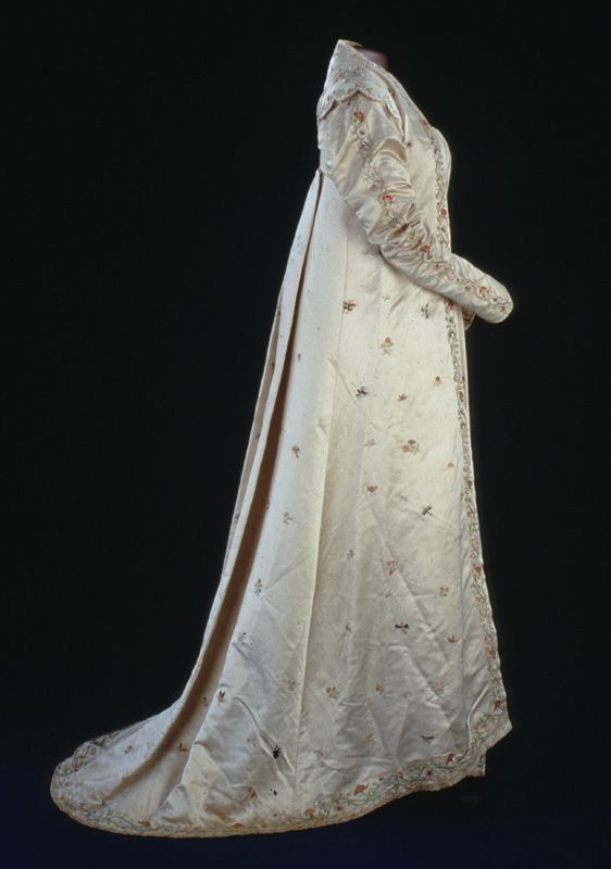 """Dolley Madison's silk satin open robe is hand-embroidered with flowers, butterflies, dragonflies, and phoenixes. It is typical of the style of the late 1810s."" Smithsonian, National Museum of American History"