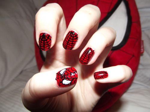 spiderman: Spiderman Nails, Nail Polish, Nailart, Nail Designs, Makeup, Spider Man Nails, Beauty, Hair, Nail Art