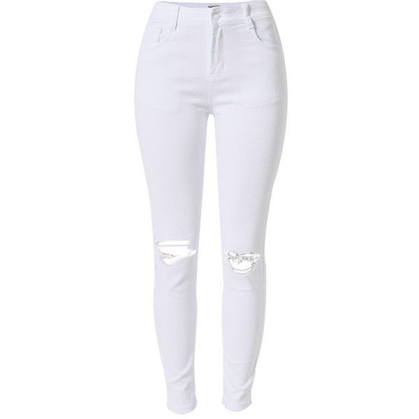Casual skinny a vita alta strappato nappe bianco jeans stretch... ❤ liked on Polyvore featuring pants, leggings, leggings jeggings, stretch jeggings, skinny jean leggings, stretchy pants and stretch skinny pants