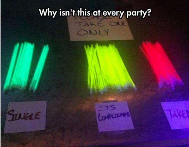 Different glow sticks depending on your relationship status. Great idea when you have a mix of people who don't know each other!