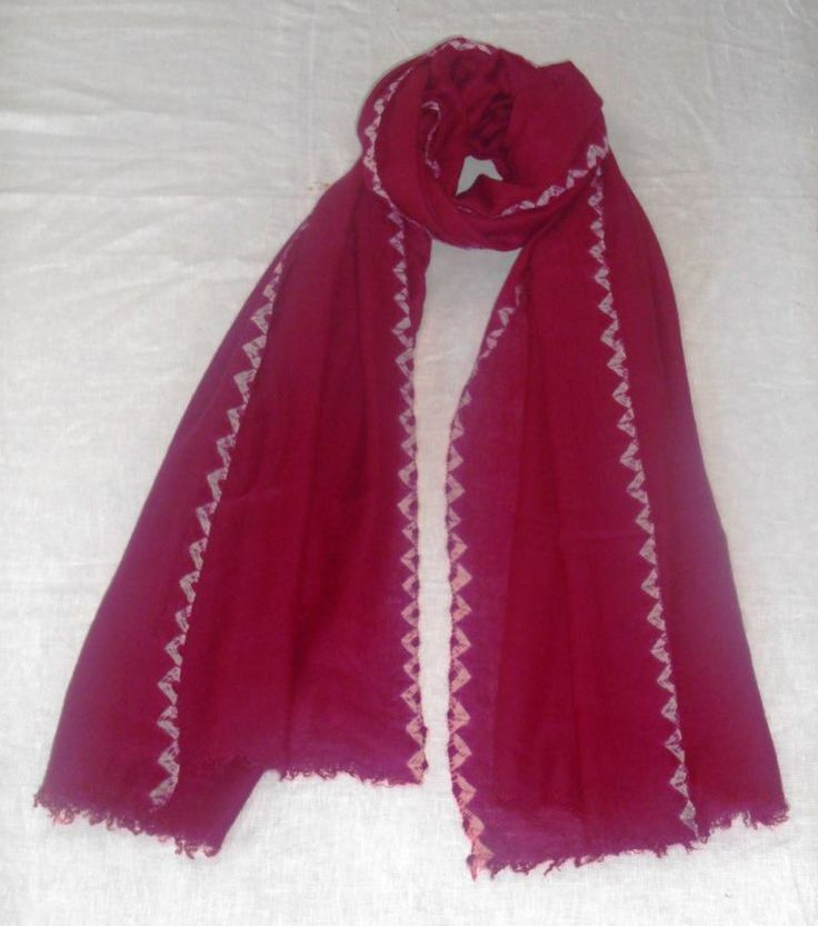 Pashmina stole Cochineal with Kanoko