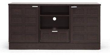 Baxton Studio Tosato Brown Modern TV Stand and Media Cabinet - transitional - Media Storage - Baxton Studio