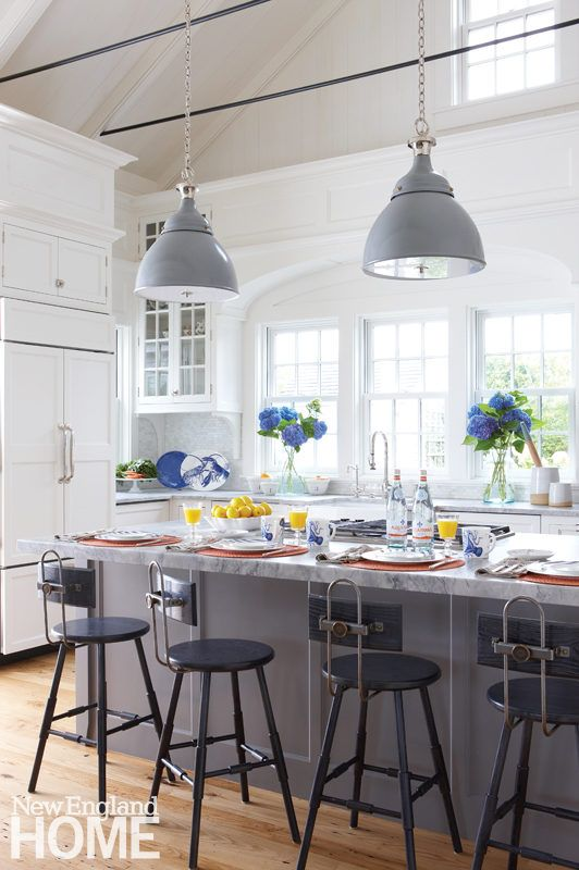 High Ceilings Give This Nantucket Kitchen An Airy Feel And Make Room For Plenty Of Cabinetry