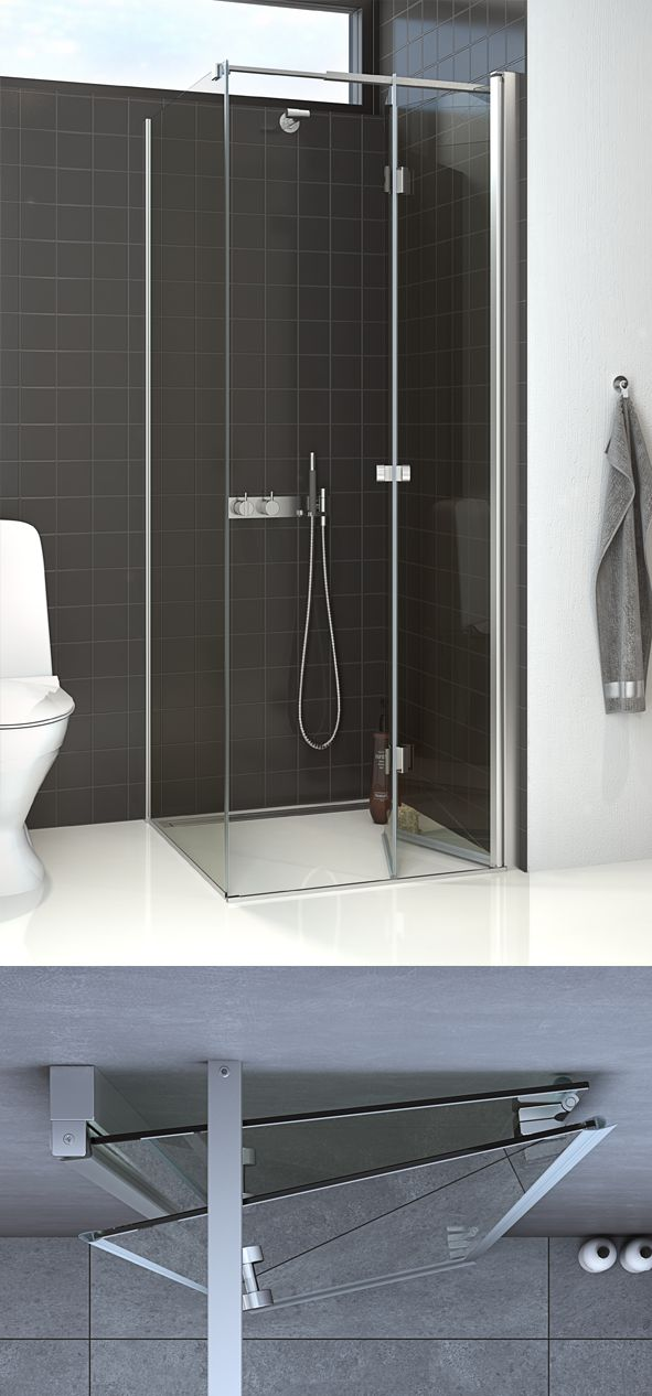 Very practical in the small bathroom, as the door opens inwards into the wet area.