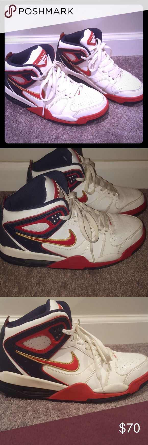 *Retro Nike Air Flight Falcon Olympic White , Red , Midnight Navy Olympic Falcon  flights ..Slight scuff on sole see pictures otherwise they are in  great condition . Nike Shoes Athletic Shoes