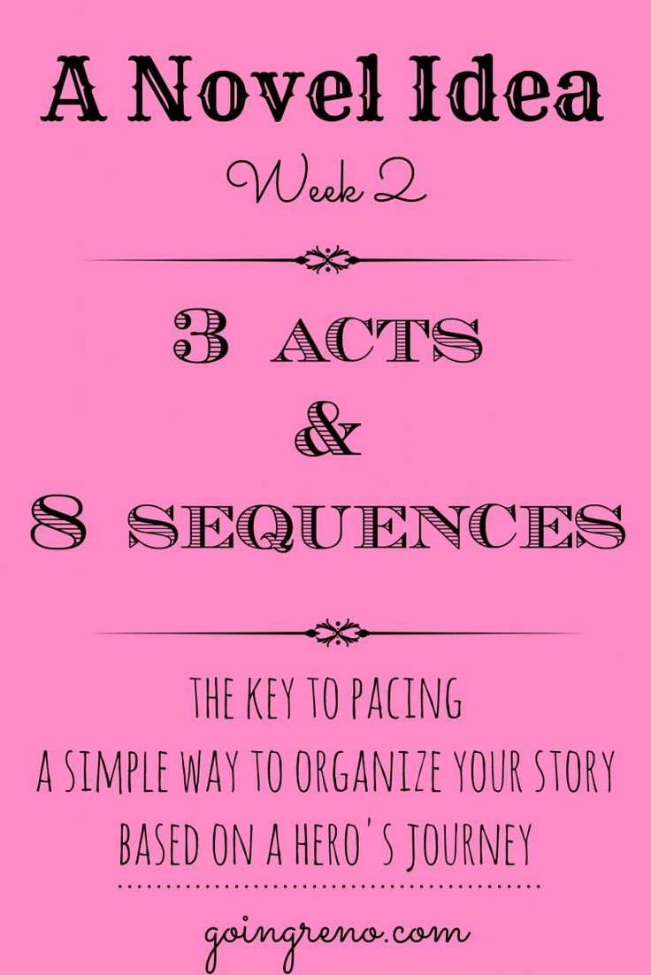 A Novel Idea: Week 2 (3 Acts and 8 Sequences) This week we're talking more about the basic story structure and what goes into each sequence.