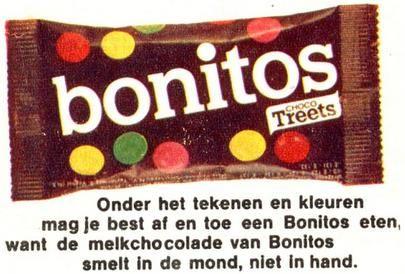 De snoepjes kwamen in Nederland in begin jaren 60 als Treets (met pinda's) en Bonitos (zonder pindas) op de markt, maar in 1983 werden deze namen gewijzigd in respectievelijk 'M's Pinda' en 'M's Choco'.