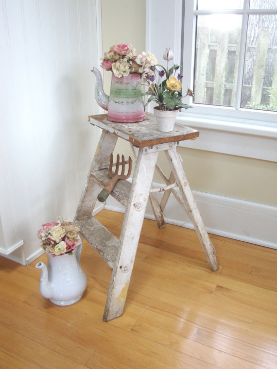 Vintage Chippy Ladder Garden Step Stool Kitchen By