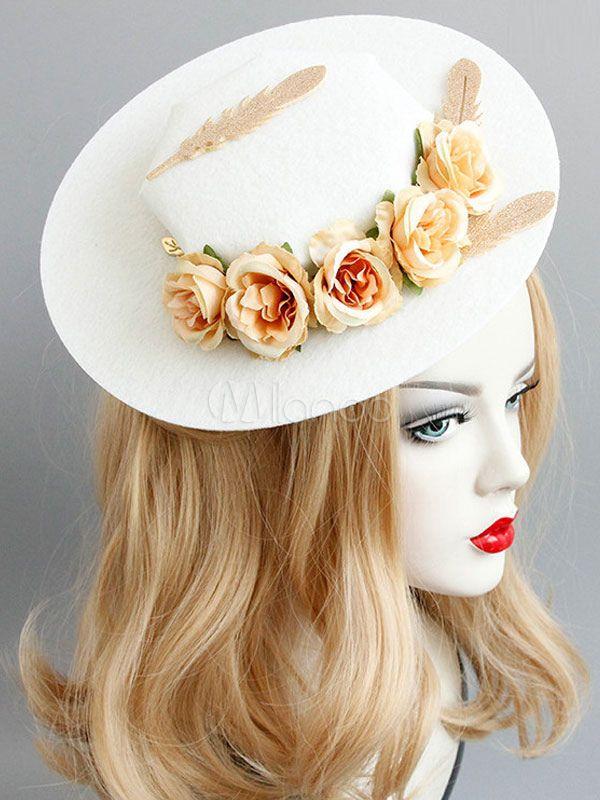 ce10cb26694b8 Classic Lolita Hat Neverland Feather 3D Flower White Cotton Lolita Headwear   Hat
