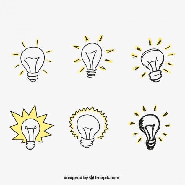 Hand drawn light bulbs Free Vector