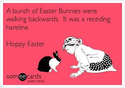 A bunch of Easter Bunnies were walking backwards. It was a receding hareline. Hoppy Easter.