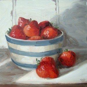 """Strawberries in cornishware"" - Original Fine Art for Sale - © Penny German"