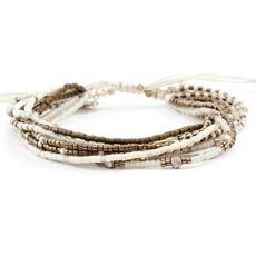 Bronze Mix Multi Strand Bracelet on Vanilla Cord