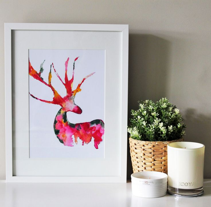 Reindeer in gouache colours/watercolors. By- Aditi Sengupta.