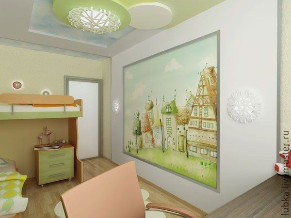 Adorable Wall Mural In A Kidu0027s Room Featuring Cute Houses.  #kidroomwallmural #kidmuralideas