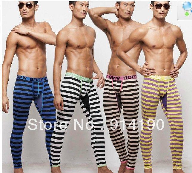 Wholesale meggings Men's Long Johns Clothing Striated Bottoms Thermals long john for Autumn Winter Sexy Men Leggings 5pcs
