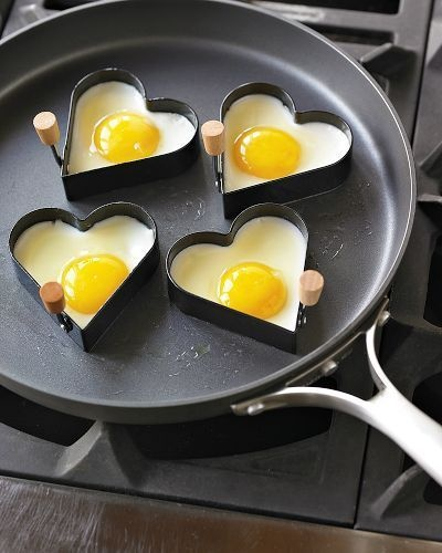 Heart Shaped Eggs and strawberry orange mimosas!