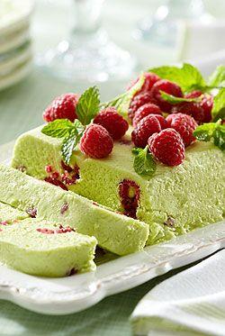 Raspberry avocado semifreddo