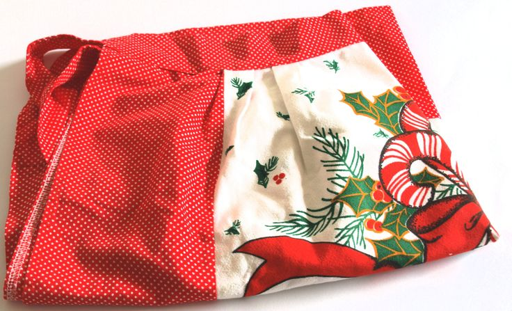 Vintage Christmas Candy Cane Holly Apron - 60s Red White Polka Dot Poinsettia Holiday Half Apron by FunkyKoala on Etsy