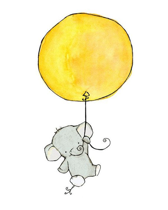 Nursery Art  Elephant Balloon  Art Print by trafalgarssquare, $10.00