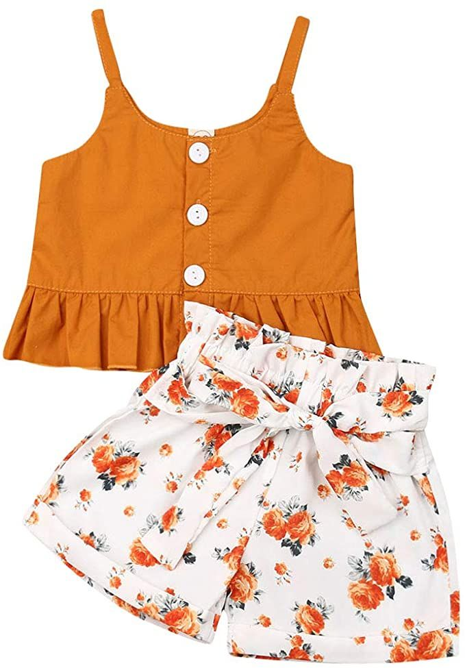 Bowknot Shorts Striped Casual Clothes Set 2Pcs Infant Baby Girls Summer Outfits Halter Button Ruffled Camisole Tank Tops